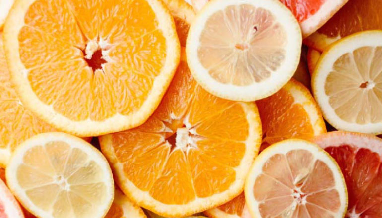 slices of citrus fruit containing acids that can harm tooth enamel